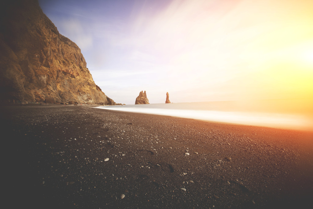 lack sand beach at Iceland