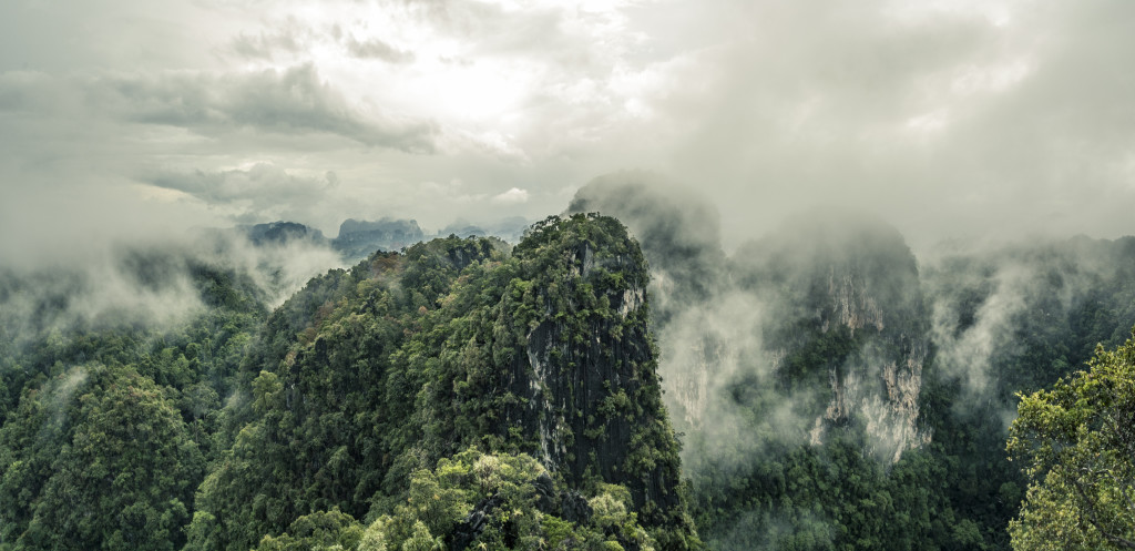 Mountainous Rain Forest Landscape Near Krabi In Thailand
