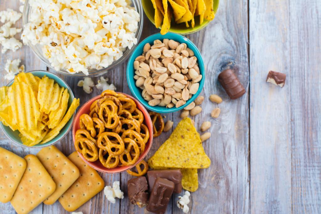 Assortment of unhealthy snacks