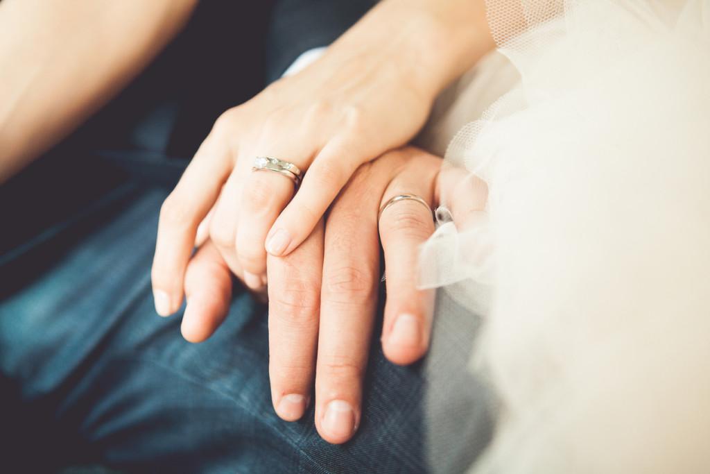 Bride and groom's hands