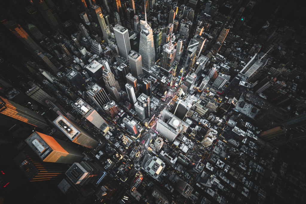 aerial view of times square at night