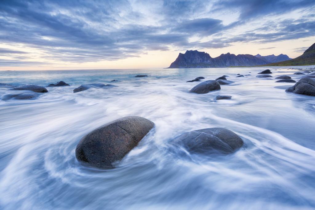long exposure image of Uttakleiv Beach in Lofoten, Norway