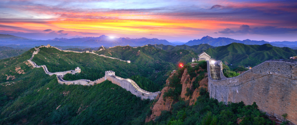 The great wall of China at sunset.