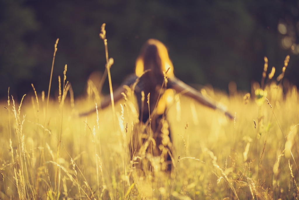 a young women walk through the high grass. the evening sun is shining very bright