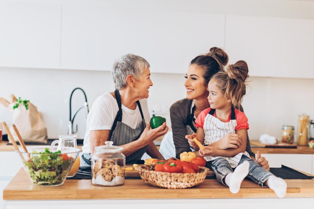 Three-generations women in the kitchen