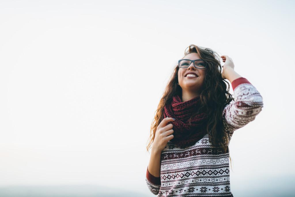 Beautiful brunette woman in glasses
