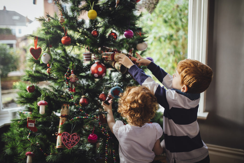 Helping mum with the tree