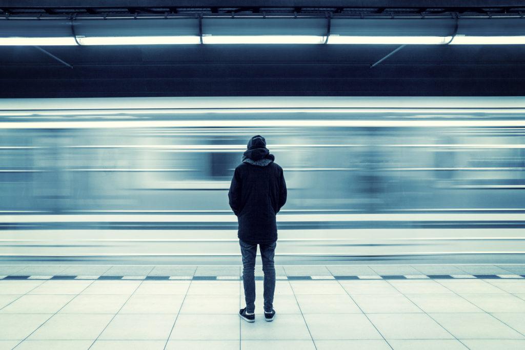 Man at subway station