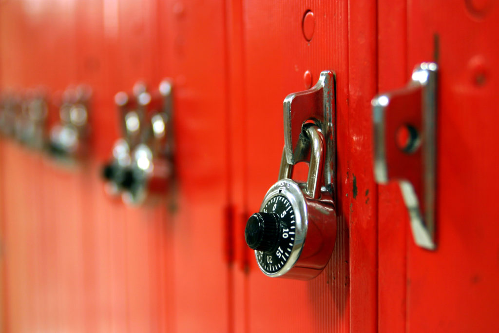 row of red lockers