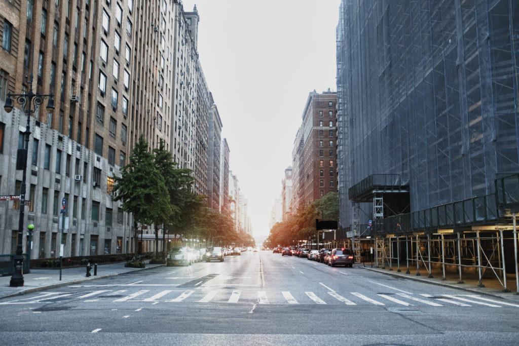Street at sunset in manhattan, NYC