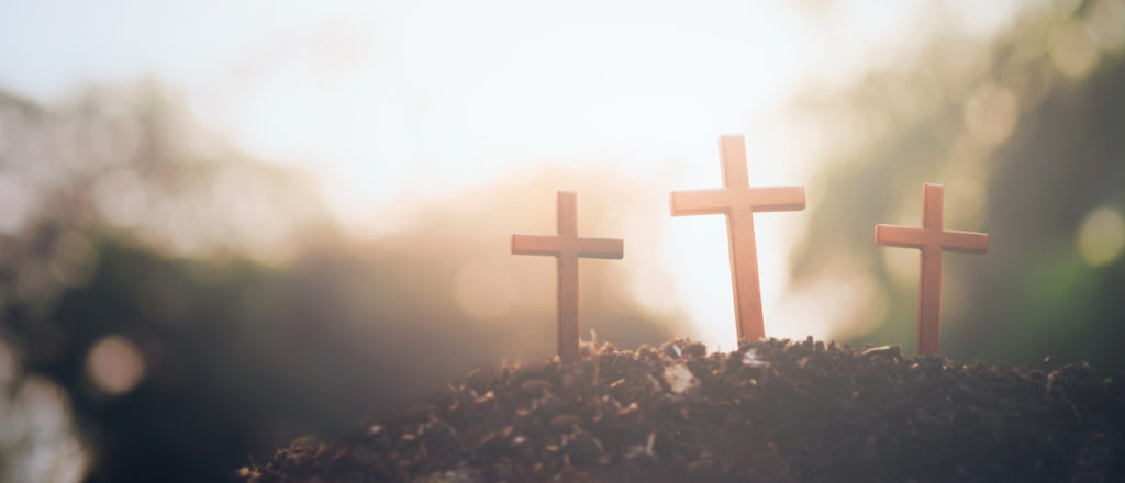Three crosses. Easter , Christianity copyspace background.