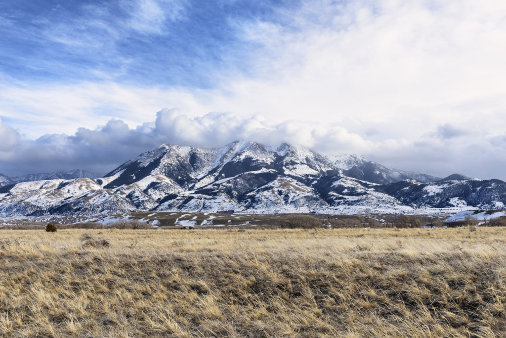 Dramatic Clouds Over Montana Mountains in Winter
