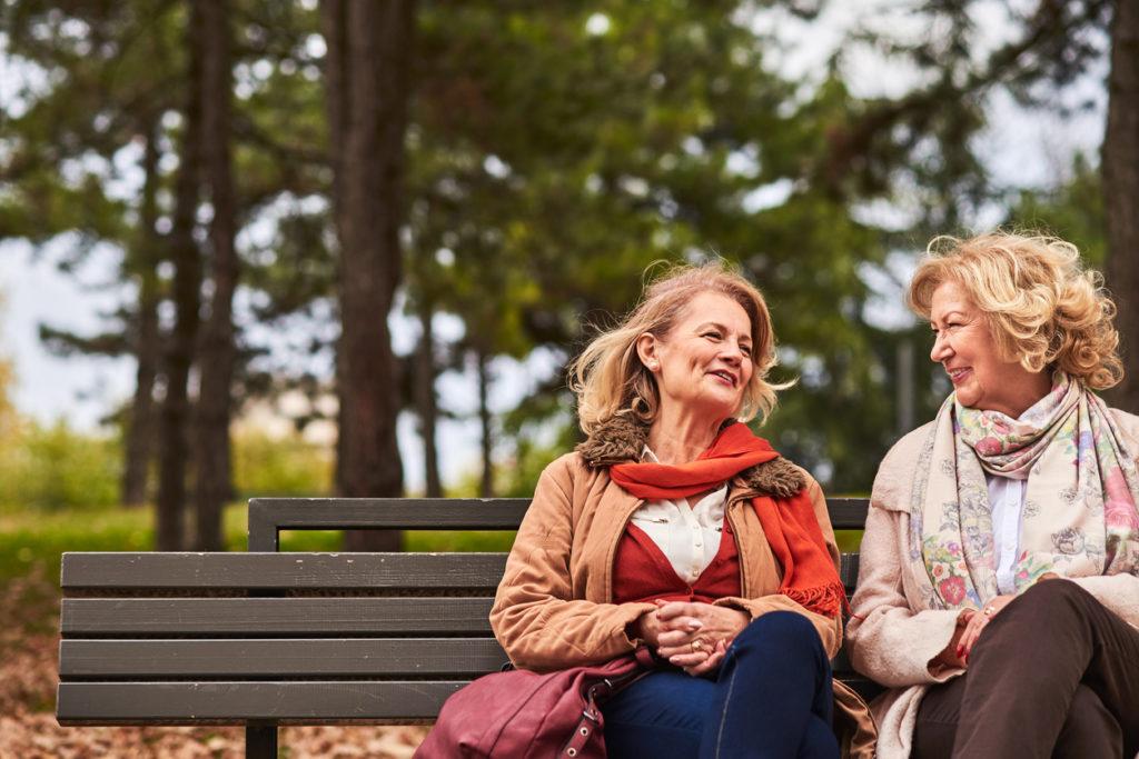 Two senoir woman talking