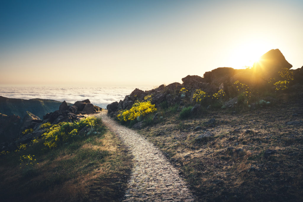 Stone hiking trail on Pico de Arieiro at sunrise (Madeira Island).