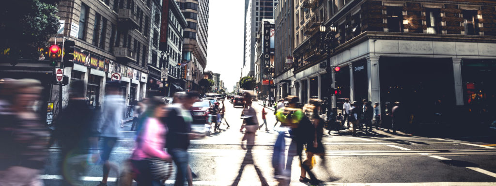 People on street of downtown San Fransisco, United States.
