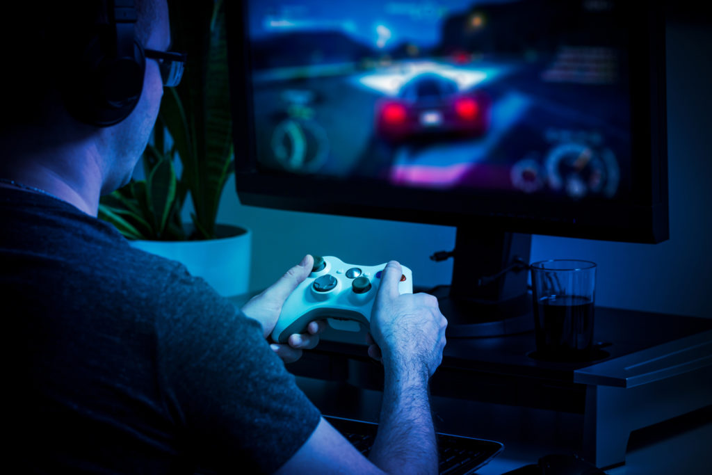 Gaming game play video on tv or monitor. Gamer concept.