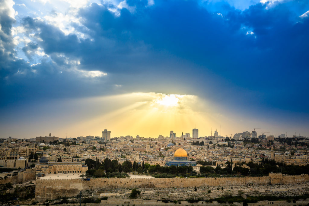 Dramatic sky over Jerusalem, view from the Olive Mountain, taken shortly before a thunderstorm