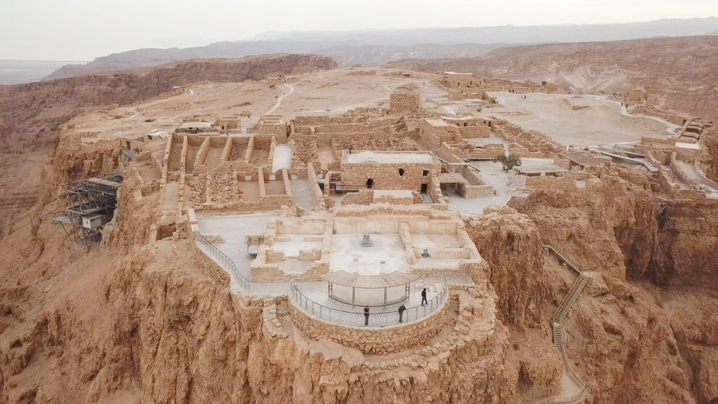 Masada - Aerial image of the ancient fortification in the Southern District of Israel