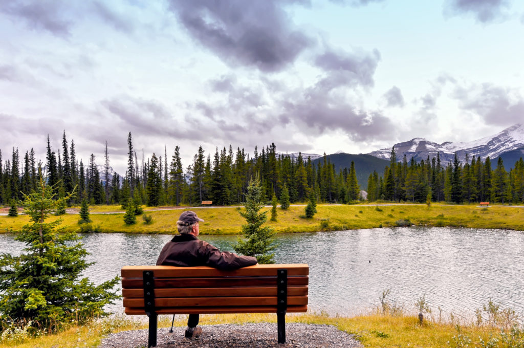 Rear view of a caucasian senior man sitting on a wooden bench and admiring the landscape with coniferous trees and mountains, surrounding the Forget-Me-Not pond in Kananaskis Country, Alberta,Canada.
