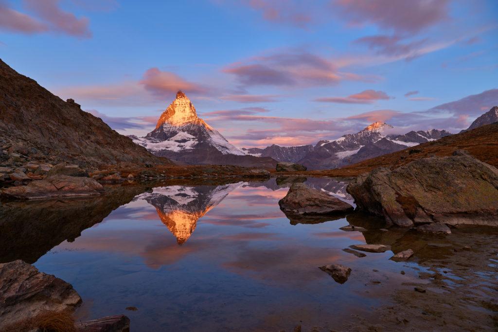 Swiss Alps' Matterhorn at sunrise, Zermatt, Switzerland.