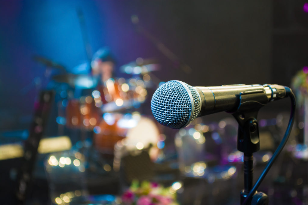 microphone on the background of the drum set close up
