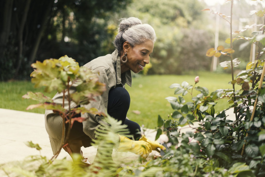 Side view of smiling senior woman crouching by plants. Happy retired female is gardening in back yard. She is wearing casuals.