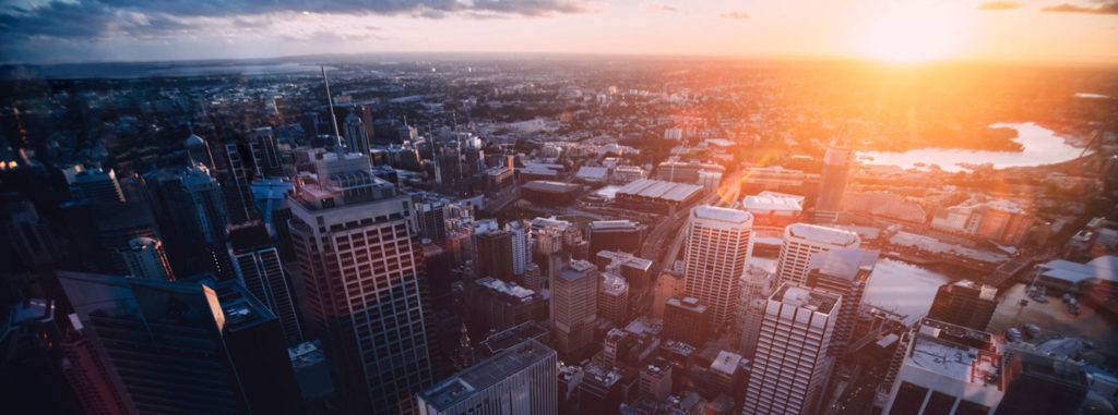 View of Sydney skyscrapers from above during sunrise
