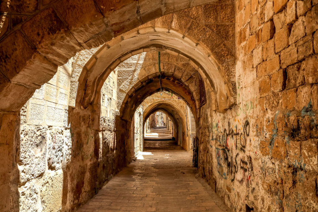 Ancient stone hallway in Jerusalem