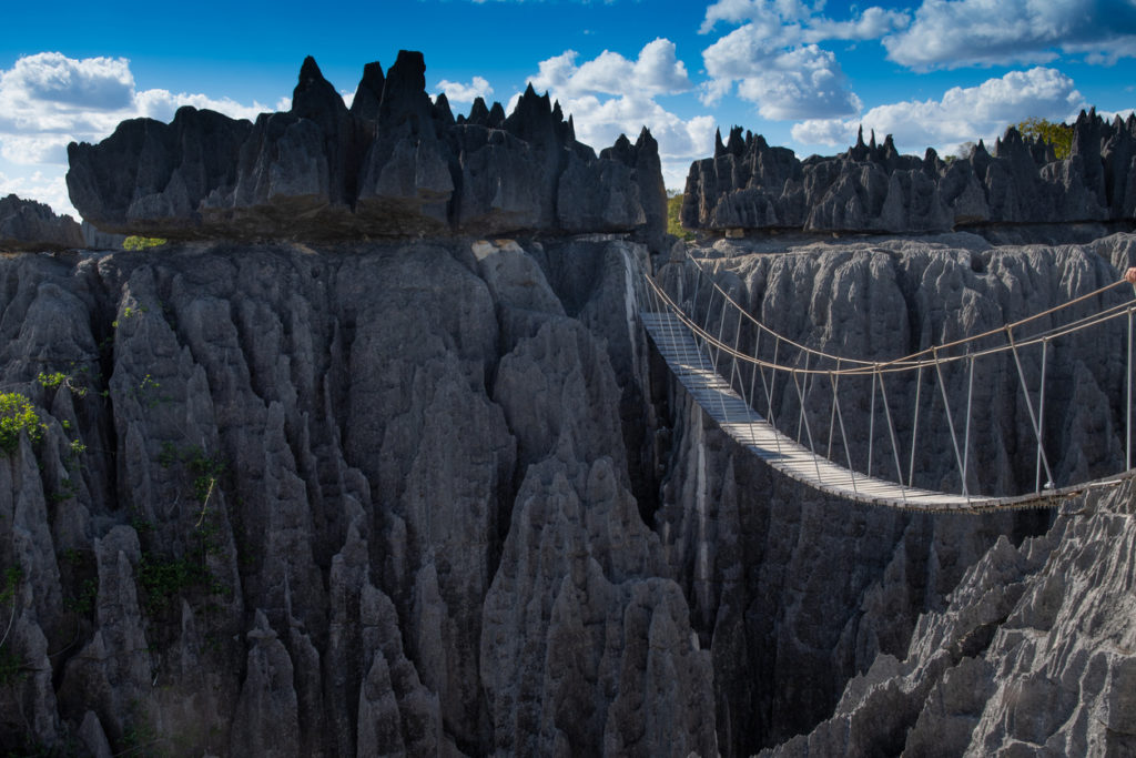 A rope bridge in Tsingy De Bemaraha National Park