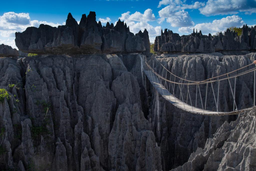 A rope bridge in Tsingy De Bemaraha National Park