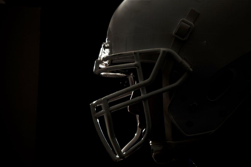 Football helmet up close