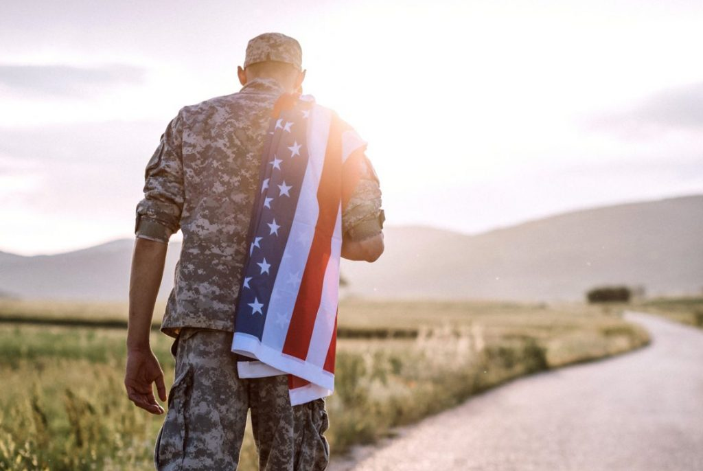 American Amputee Soldier On Road