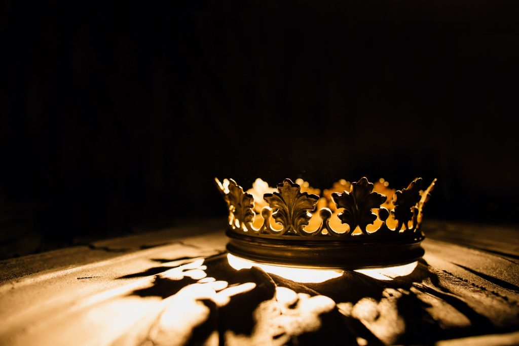 royal crown with light shining through