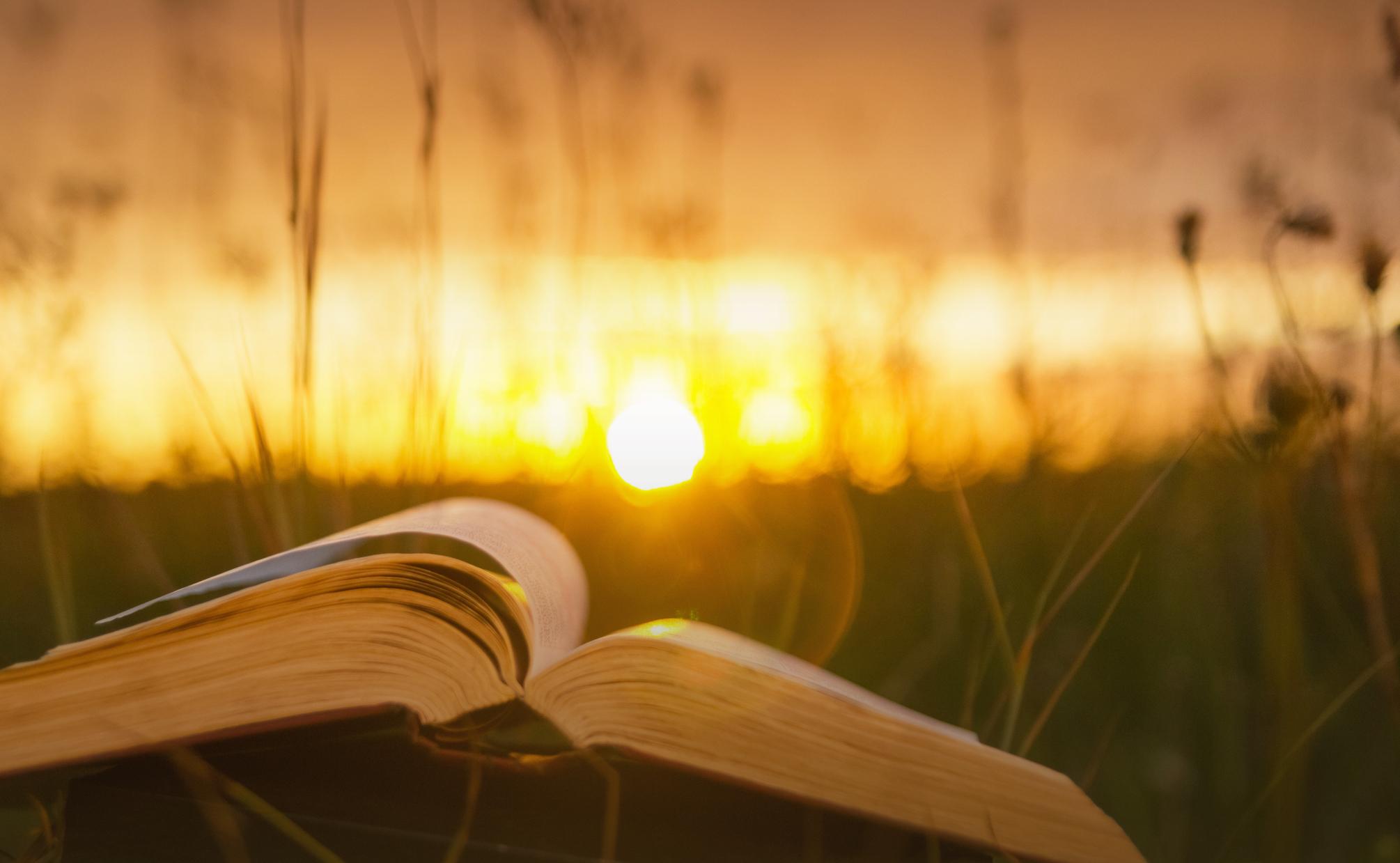 Bible at sunset