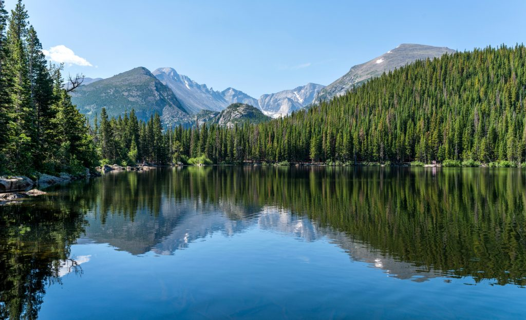 Longs Peak at Bear Lake - Longs Peak and Glacier Gorge reflecting in blue Bear Lake on a calm Summer morning, Rocky Mountain National Park, Colorado, USA.