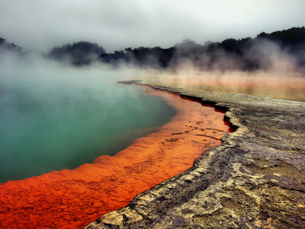 Full frame shot of champagne pool Waiotapu geothermal - tumultuous surface