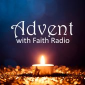 Tea light and a golden star on defocused blue and gold background. podcast art