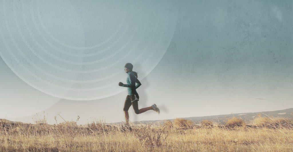 Person running open field