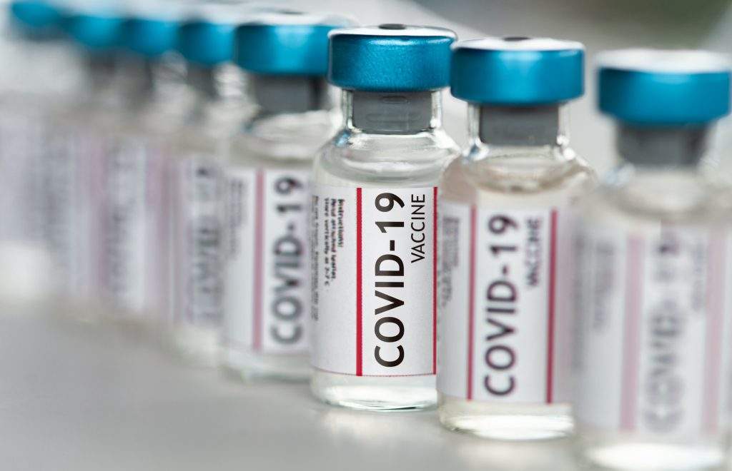 Covid-19 Coronavirus Vaccine vials in a row