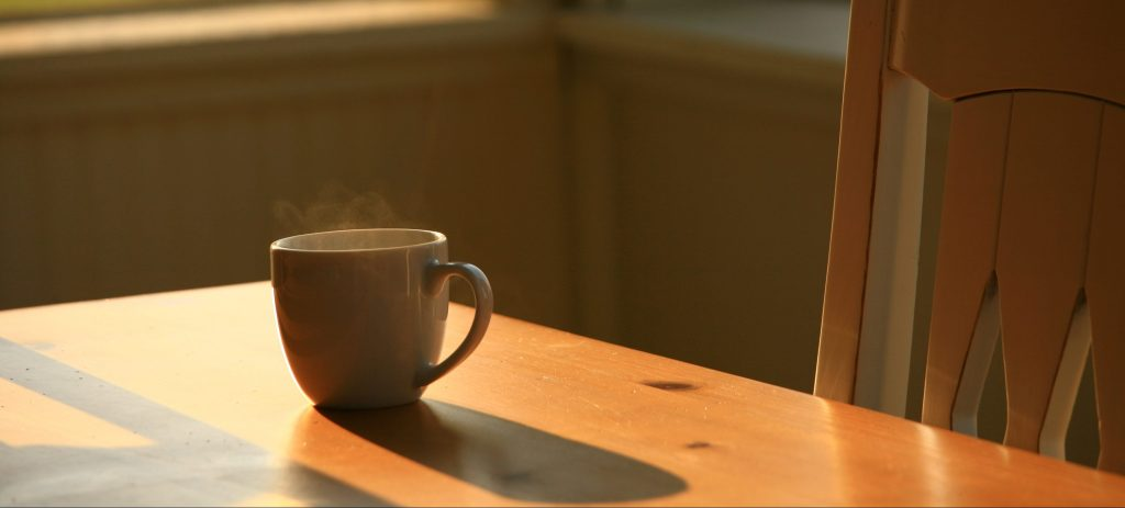 Steaming Morning Coffee on Table