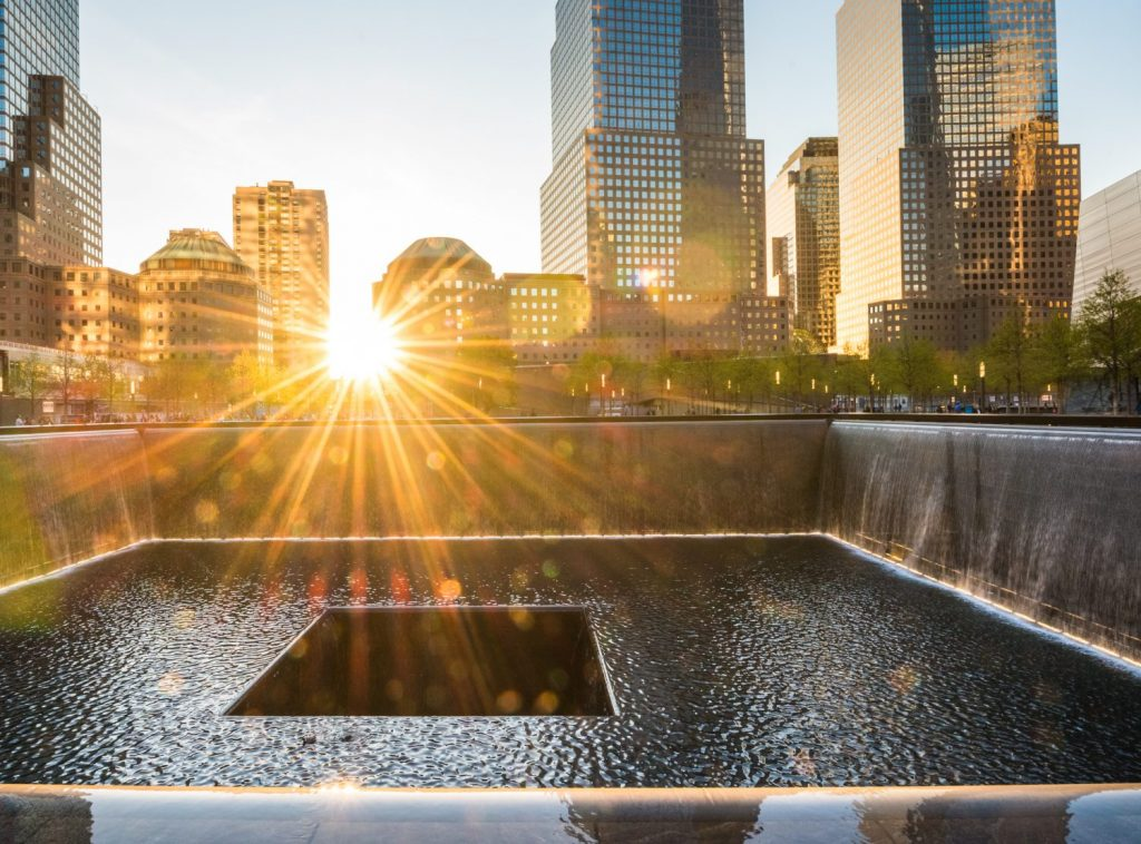 The World Trade Center memorial in New York City financial district.