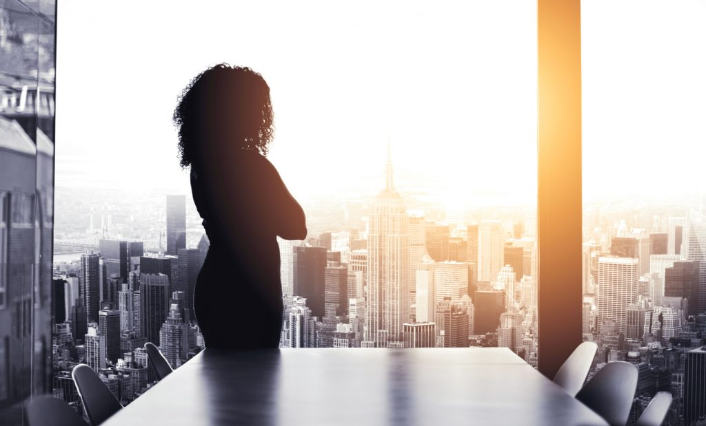 Silhouetted shot of a young businesswoman looking at a cityscape from an office window with focus, considering what her purpose is.